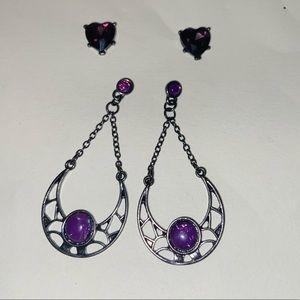Two Pairs of Purple Earrings